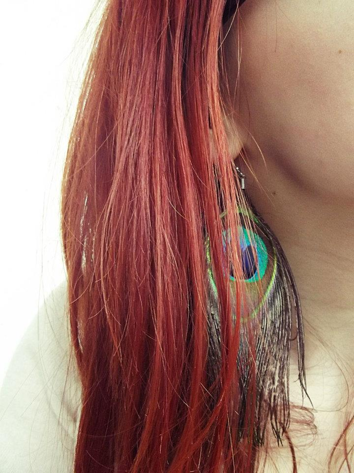 peacock, earrings, feather, red hair