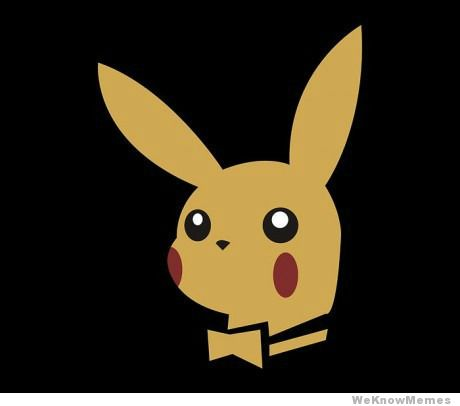 pikachu, playboy, yellow, red, black