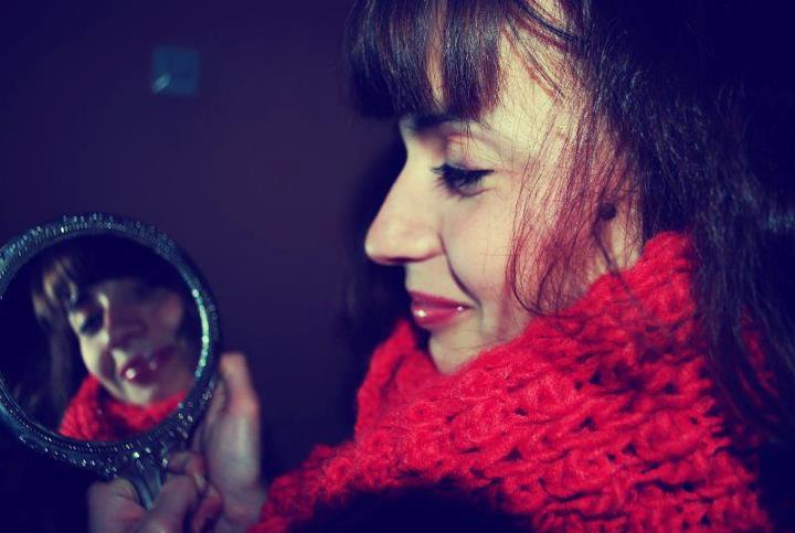 red, girl, mirror