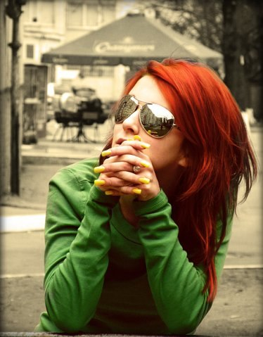 red hair, glasses, girl, green, lovely