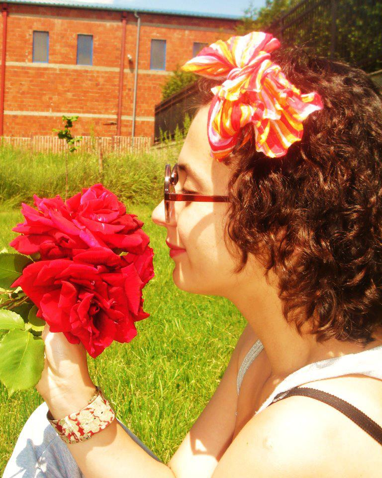 rose, curly, hair. clock. summer