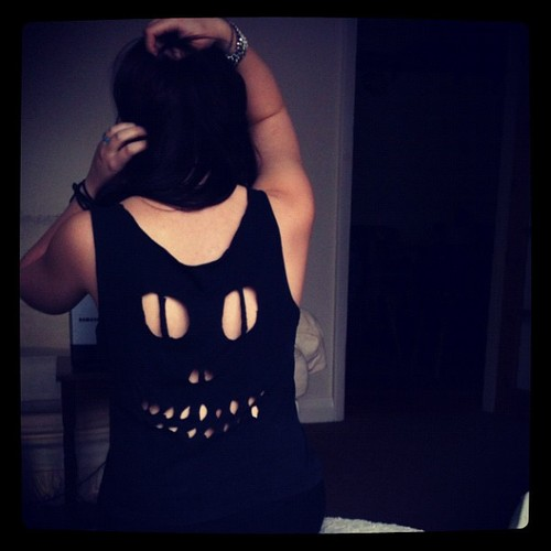 shirt, skull, girl, purple, beautiful