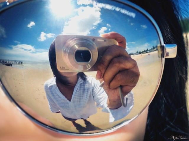 summer, beach, mirror