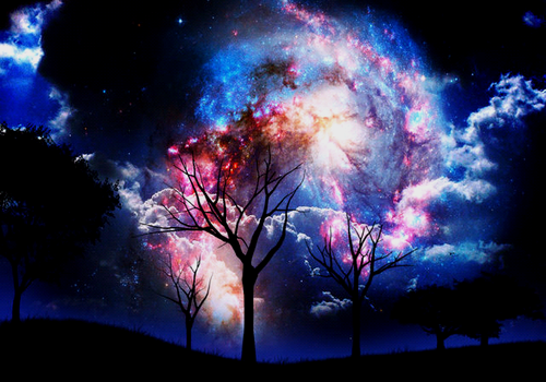 amazing, beautiful, color, colored, dark, fantasy, nature, photo, photography, sky, tree, trees, universe