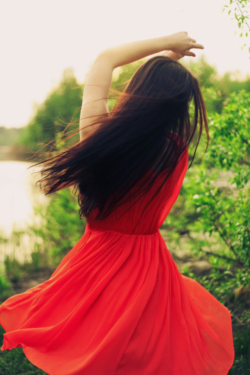 fashion, girl, red, vestido