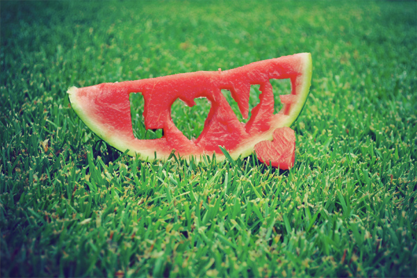 watermelon, love, fruit, fresh, grass