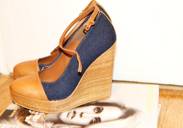 zara denim wedges