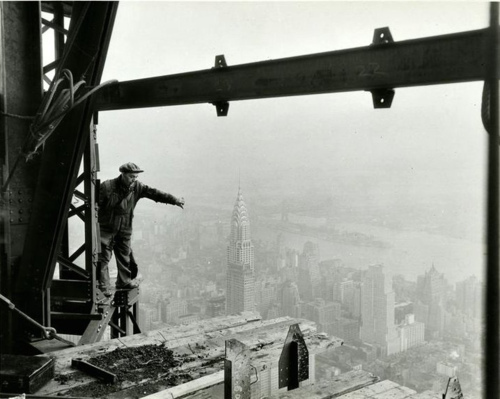1930s, black and white, brave, chrysler building, construction