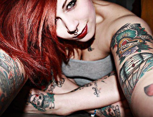 adorable, alternative, art, body, cute, girl, gorgeous, hair, lovely, model, piercing, pretty, red, red hair, septum, smile, style, tattoo