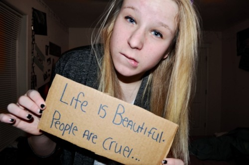 adorable, beautiful, bite, blond, blue eyes, cardboard, cruel, cute, girl, gross, just stop, lip biting, people, photography, quote, sexy, society, typography, you are not a model, you arent a model