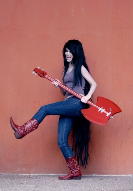 adventure, boots, costume, cute, funny, geek, girl, guitar, hair, long, marceline, time