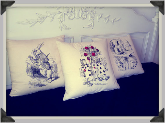 alice, alice in wonderland, cards, cushion, home