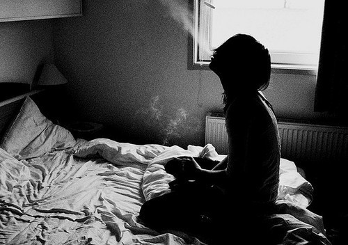 alone, girl, lonely, smoke