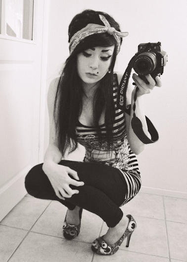 alternative, bandage, black hair, canon, emo girl, finland, finnish, girl, heels, long hair, pretty, scene girl, sexy, skinny