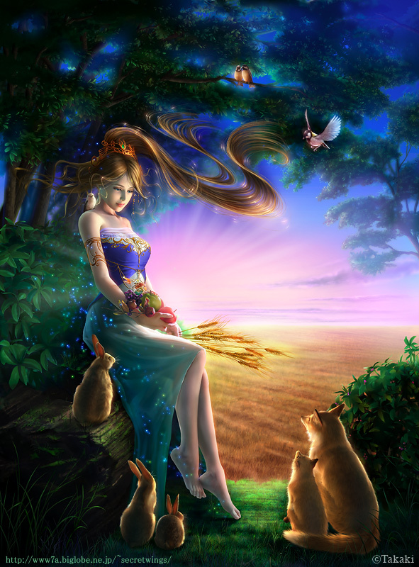 animals, apple, art, beautiful, colors, colours, cute, digital, dress, earth, fairy, fantasy, forest, fox, fruit, green, hair, happy, landscape, light, lights, nature, painting, pple, rabbit, smiling, sun, sweet