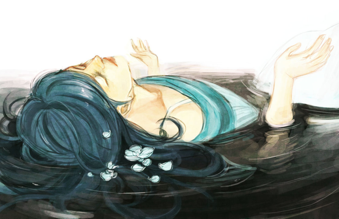 anime, art, girl, laying, manga, ophelia, painting, water