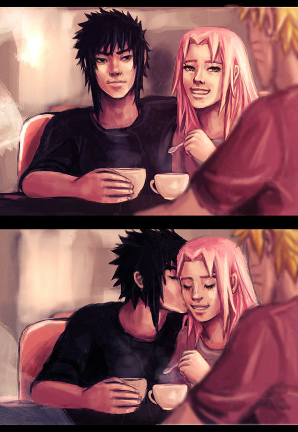 anime, couple, fan art, haruno sakura, love