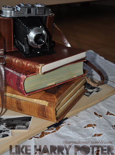 antique, book, books, camera, decoration