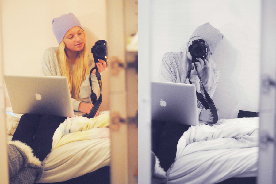appel, bed, bedroom, blonde, camera