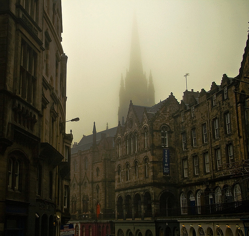 architecture, art, edinburgh, fog, scotland