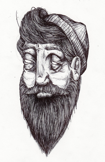 art, beard, black and white, cute, drawing, hair, hat, man, moustache, old, old man, pencil