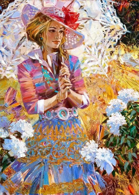 Art Beautiful Flowers Girl Painting Image 444179 On