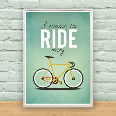 art, bicycle, bike, blue, design, etsy, frame, illustration, poster, ride, typography, yellow