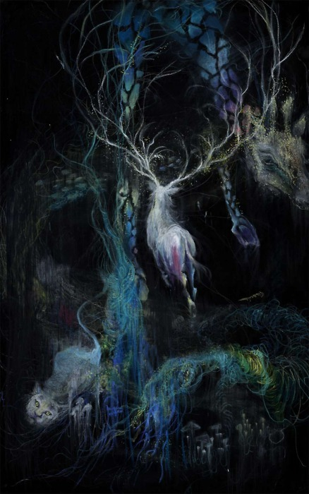 art, black, colors, cool, forest under the water, nu ryu, paint, painting, scape, scary, scream, under water, water