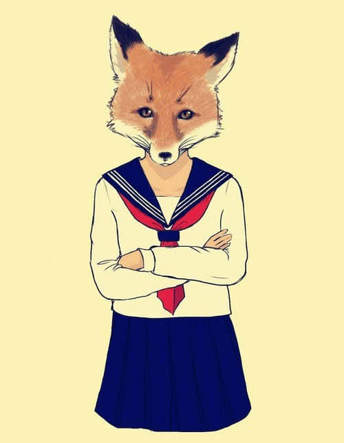 art, cool, creative, different, draw, drawing, fox, illustration, lineart, lol, school, strange, uniform