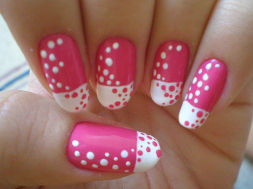art, dot, girl, nail, pink