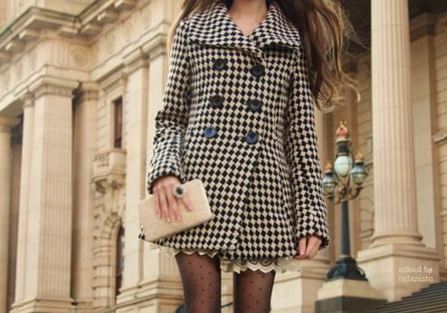 artsy, blonde, checker, checkered, coat, edgy, fashion, girl, jacket, patterned, printed, style, tights