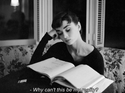 audrey hepburn, black and white, reading, reality, vintage