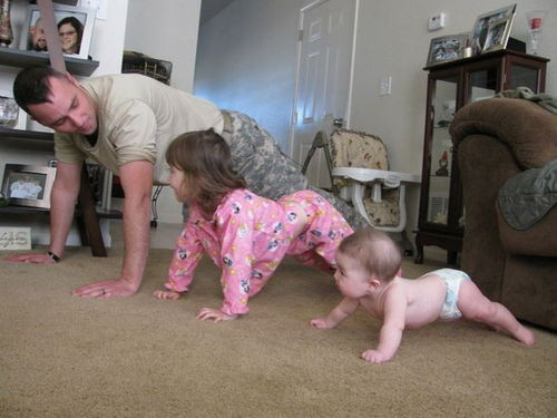 baby, cute, family, man, soldier