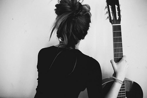 back, black, black and white, fashion, girl, guitar, hair, tail, white, white and black