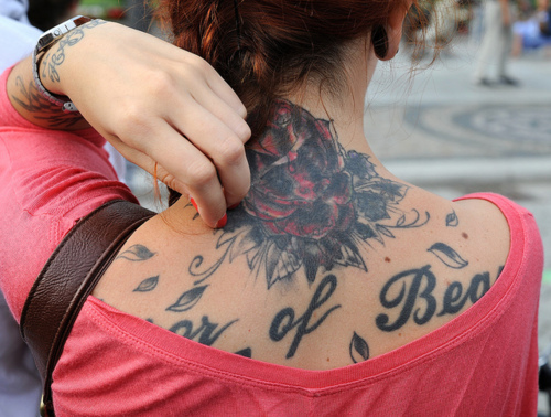 back, decorated skin, girl, hair, ink