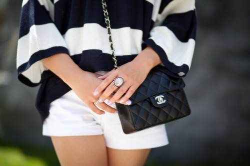 bag, black, chanel, chic, cutr, ring, shirt, shorts, stripes, swater, tunic, white