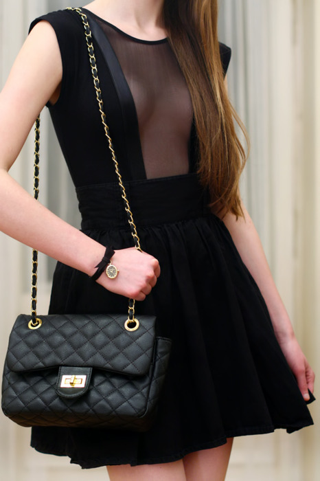 bag, black, colors, dress, fashion, hair, photography
