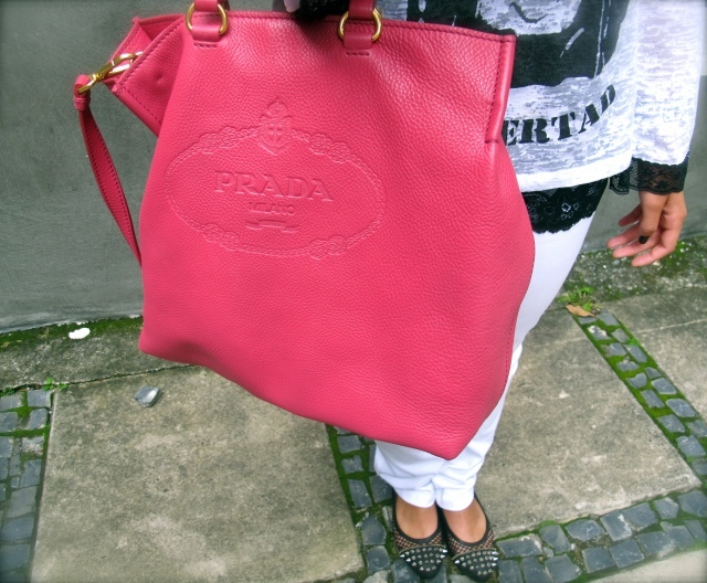 bag, black, fashion, fucsia, look