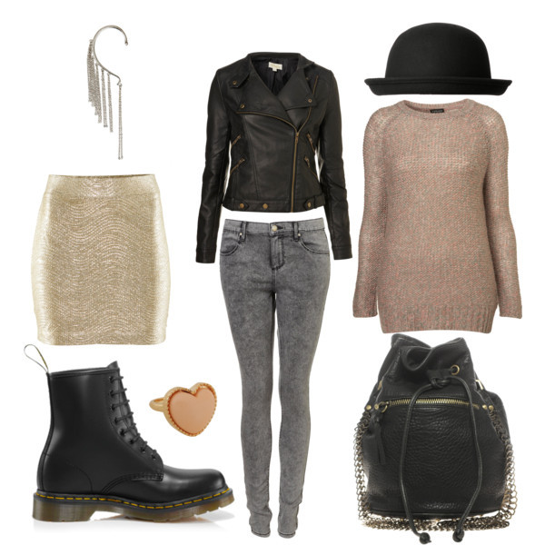 bag, boots, fashion, glitter, h&m, hat, jumper, knitted, leather, skirt, sweater, topshop