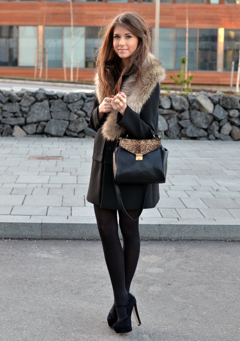 bag, brunette, chic, coat, elegant