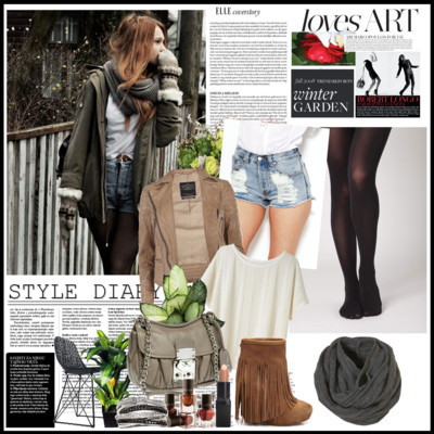 bag, coat, fashion, make-up, scaf, shirt, shoes, short shorts, tights
