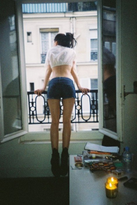 balcony, boots, brunette, candle, hipster, shorts, skinny, summer, sun, thin, vintage