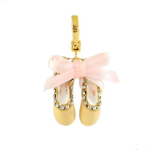 ballet, ballet shoes, charm, dance, gold, juicy couture, pink