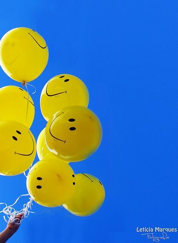 balloon, beautiful, blue, cadima, face, fly, happy, sky, smile, yellow