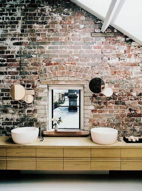 bathroom, bricks, interior, interior design, mirrors, vintage, wall, white