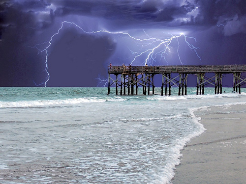 beach, beachscape, beautiful, hdr, landscape, lightning, ocean, peir, sea, storm
