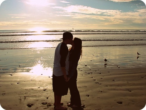 beach, couple, cute, edited photo, kiss