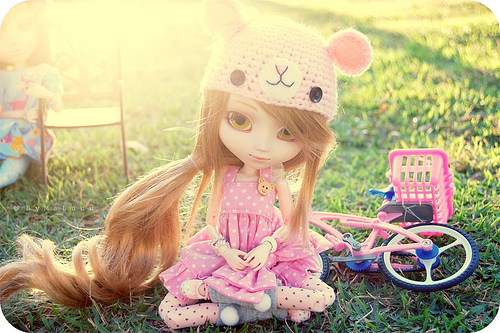 bear, bike, cute, doll, light eyes, long hair, pink, pullip cute doll