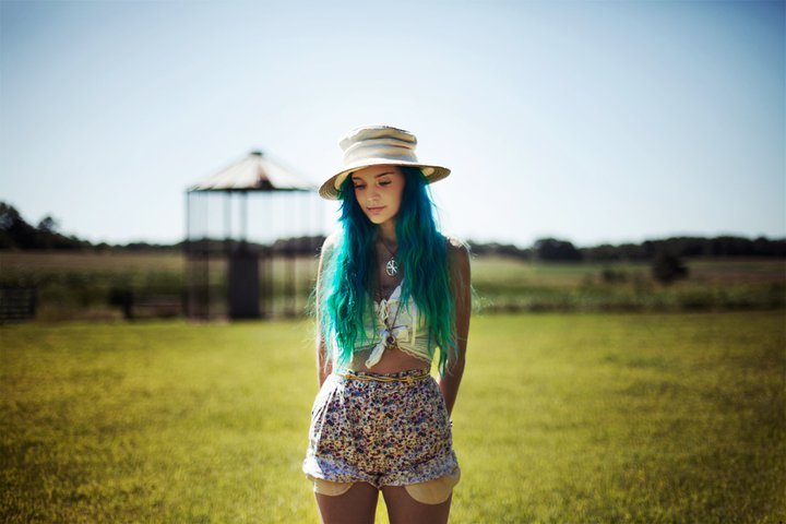 beautiful, blue hair, country, farm, hat