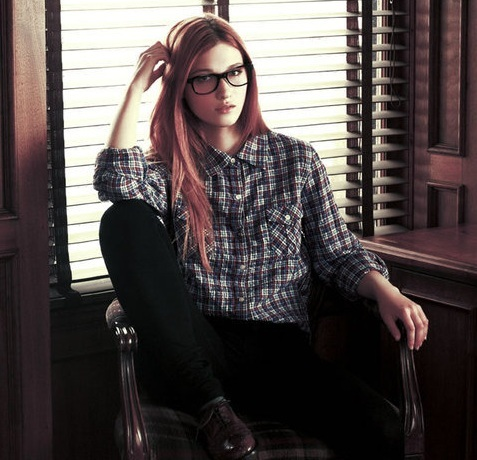 beautiful, cute, fashion, girl, glasses, pretty, red, red hair, vintage